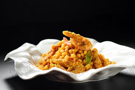 蛋黄焗鲜虾玉米粒 - 找菜图