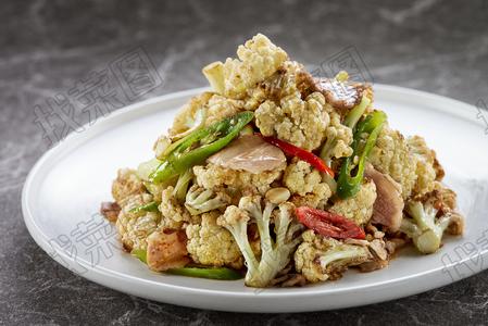 干锅煎烹有机花菜 - 找菜图